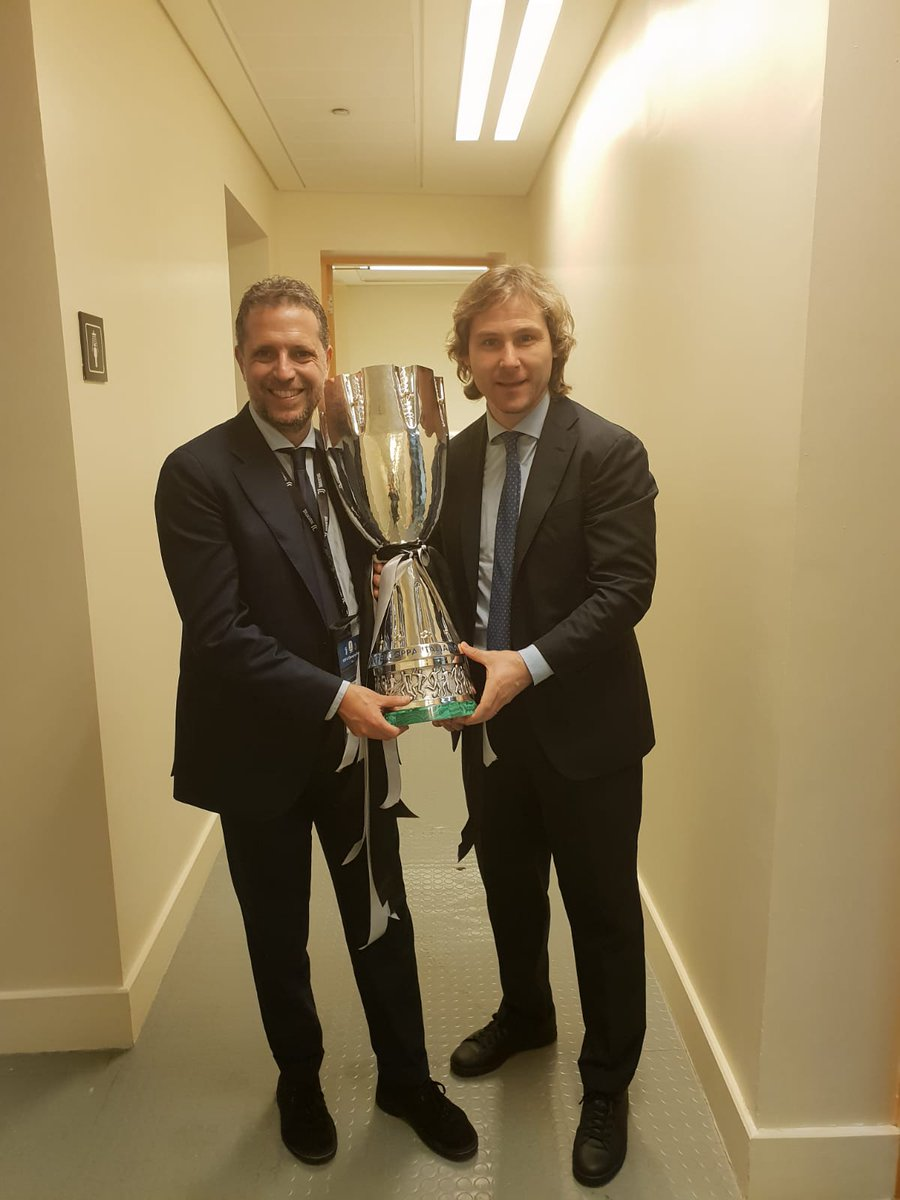Fabio Paratici & Pavel Nedved with the #SuperCup 🏆😁  #SuperJuve