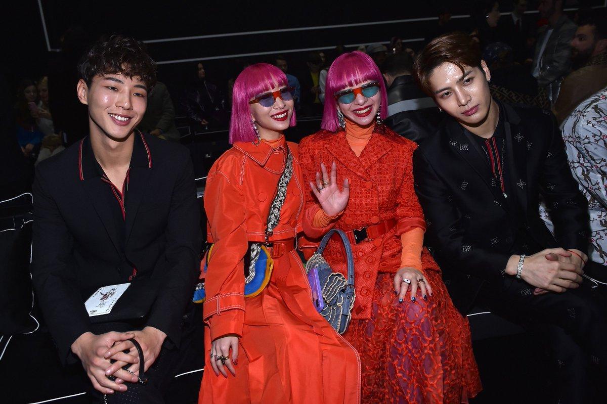 Ji Soo, the @AMI__AYA twins and @JacksonWang852 at the Fendi Men's Fall/Winter 2019-20 Fashion Show. #FendiFW19