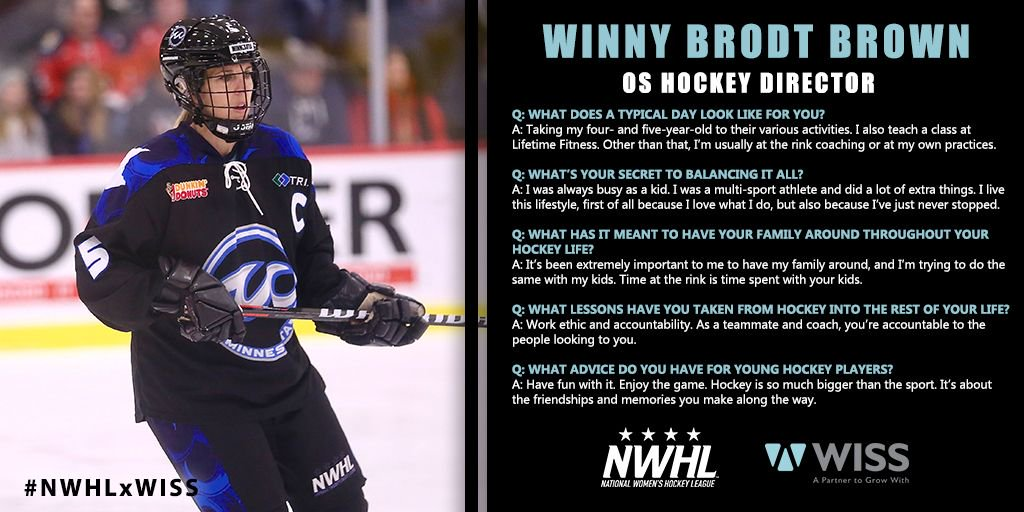 She's a member of one of Minnesota's most notable hockey families, captain of @WhitecapsHockey, the director of @OsHockeyMN, a fitness coach, AND a mother of two.   The incredible @winnybrown5 is next up in #NWHLxWISS, a feature series with @wissllp.  📝https://buff.ly/2QTgLLU