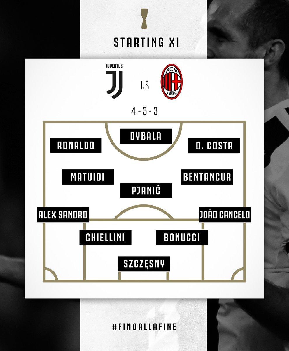 🇮🇹 #JUVENTUS-#MILAN - #Formazioni ufficiali: tornano #Cancelo e #Bentancur. #DouglasCosta con #Dybala e #Ronaldo. #Higuain out, c'è #Cutrone ➡️ https://bit.ly/2FDBmBF  🇬🇧 #Supercoppa #lineups: Juventus v Milan ➡️ https://bit.ly/2VVF4fQ  #JuveMilan #SupercoppaItaliana #Jeddah