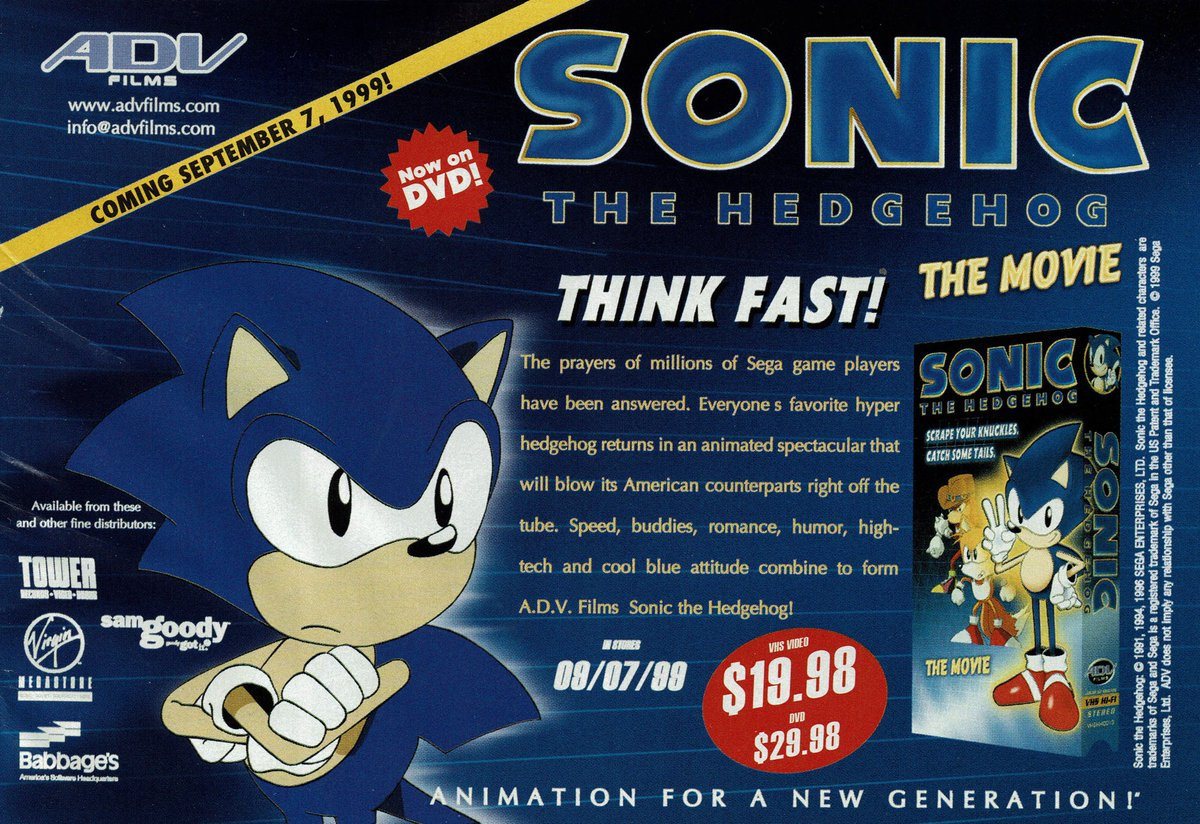 Videogameart Tidbits On Twitter Sonic The Hedgehog The Movie Vhs Dvd Ad