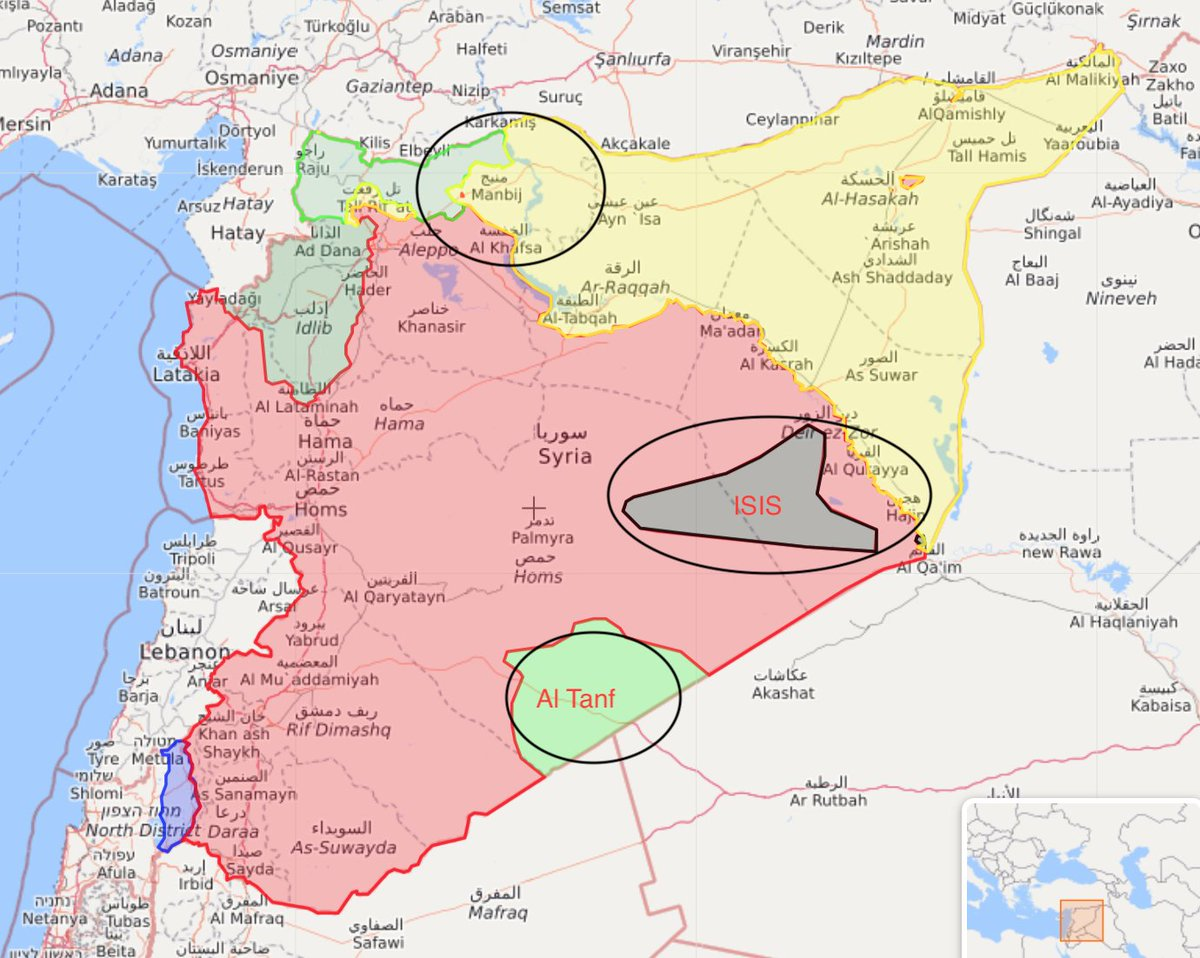 #Manbij has been free of #ISIS for 2 years, why and how could ISIS be behind an attack in #Manbij. If ISIS wanted to attack US soldiers wouldn't they attack in Al-Tanf where there's actually an ISIS pocket? No, because the US was going to pull out of Manbij first. Get it? #Syria