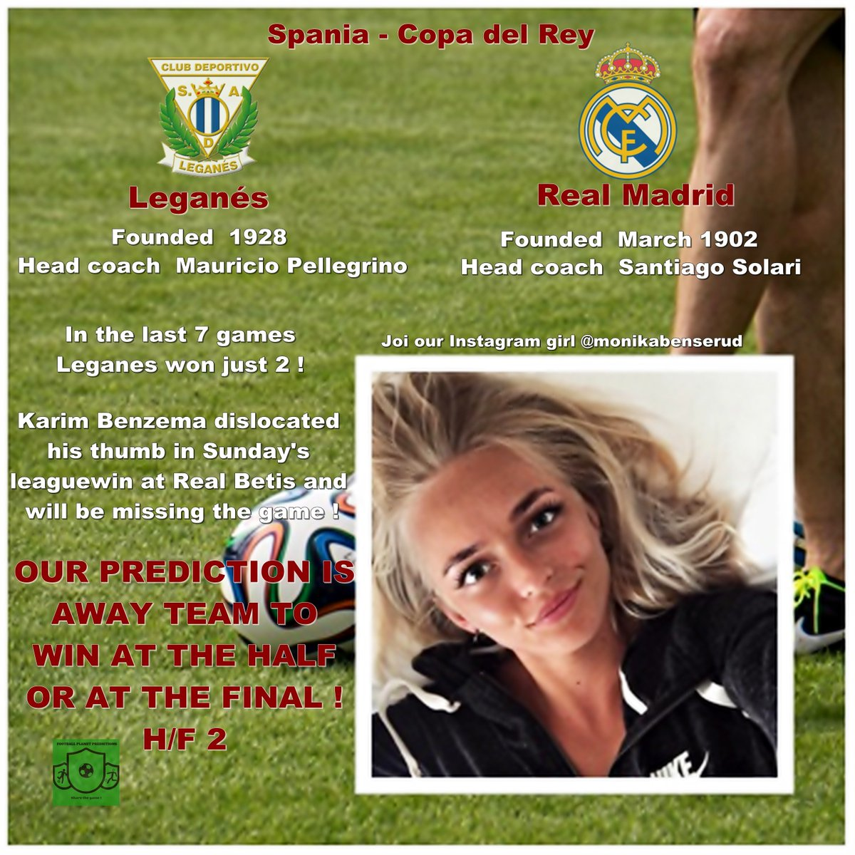 Spain - Copa del Rey!  Leganes - Real Madrid  - We expect to away team to win at the half or at the final ! . . Join our Instagram girl @monikabenserud  #copadelrey #leganes #matchday  #realmadridfamily #realmadridteam #realmadridfan #williamhill #handicapper #footballforlife