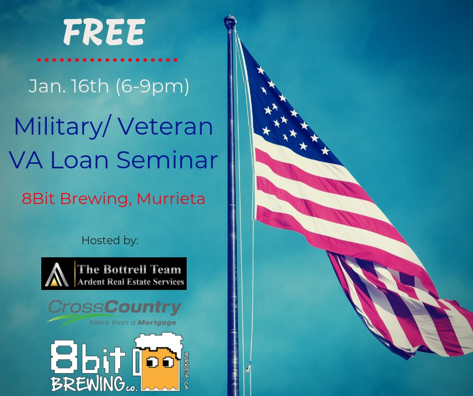 Join us TODAY at 8Bit Brewing in Murrieta, CA. (6-9:30)The Bottrell Team & Scott Evans with Cross County Mortgage will be teaching you how to use your VA Loan to fund your retirement! STOP paying your landlords mortgage and start investing in your own future!#free #veteran #event