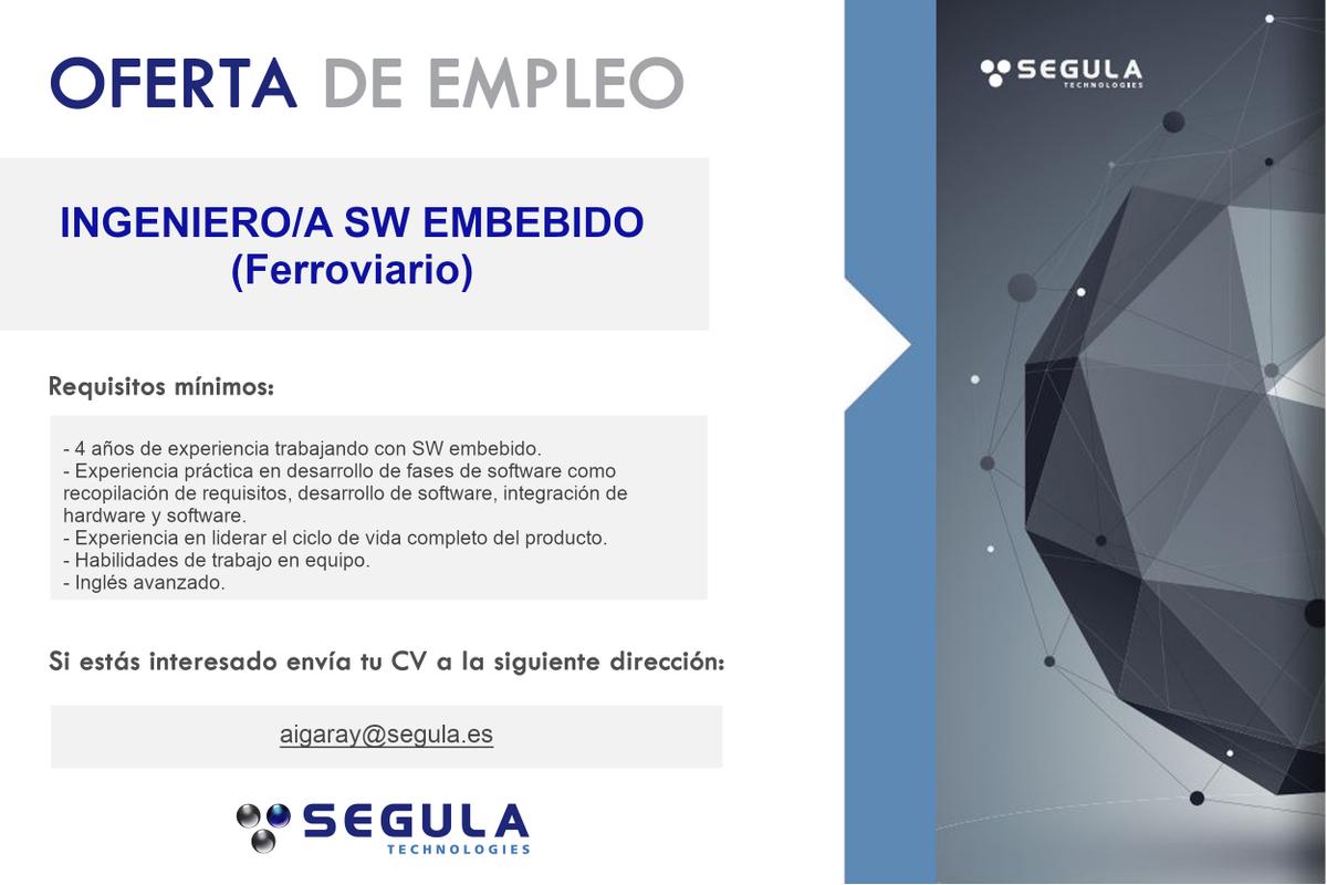¡Trabaja con nosotros! #ingeniero #sw #embebido #ferroviario en #Barcelona . Valorable experiencia previa e #ingles . Envíanos tu #cv .