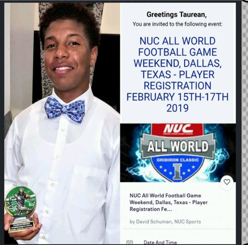 """Check out """"NUC All World Football Game Weekend, Dallas, Texas - Player Registration February 15th-17th 2019""""  HIT THIS LINK 👇👇👇https://www.gofundme.com/6q1iq3c  TO SUPPORT TAUREAN GET TO THIS GAME ! https://www.eventbrite.com/e/nuc-all-world-football-game-weekend-dallas-texas-player-registration-february-15th-17th-2019-registration-44453060300?utm-medium=discovery&utm-campaign=social&utm-content=attendeeshare&aff=estw&utm-source=tw&utm-term=listing… @Eventbrite"""