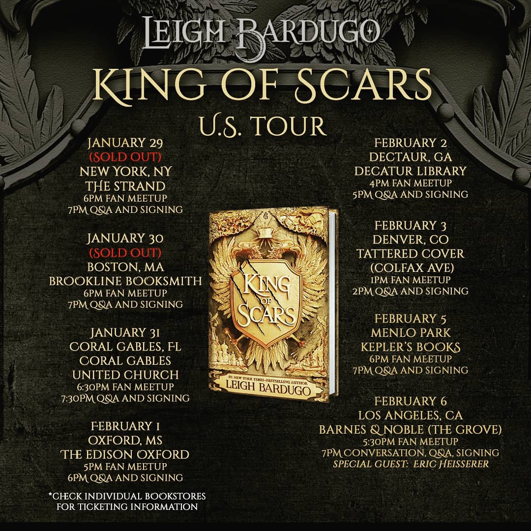 Tour news!! 👑🖤✨ @HIGHzurrer the wonderful writer adapting Shadow and Bone & Six of Crows for Netflix will be joining me for my Los Angeles stop at !!@BNEventsGrove