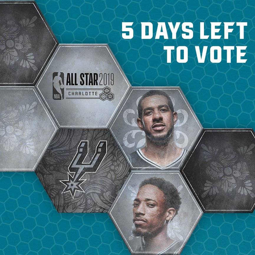 Only FIVE days left of #NBAAllStar  voting!  Vote DeMar:  http:// bit.ly/2VU6BhP  &nbsp;   Vote LA:  http:// bit.ly/2AQy1Mo  &nbsp;     http:// spurs.com/vote  &nbsp;   <br>http://pic.twitter.com/oxV8YWjPgi