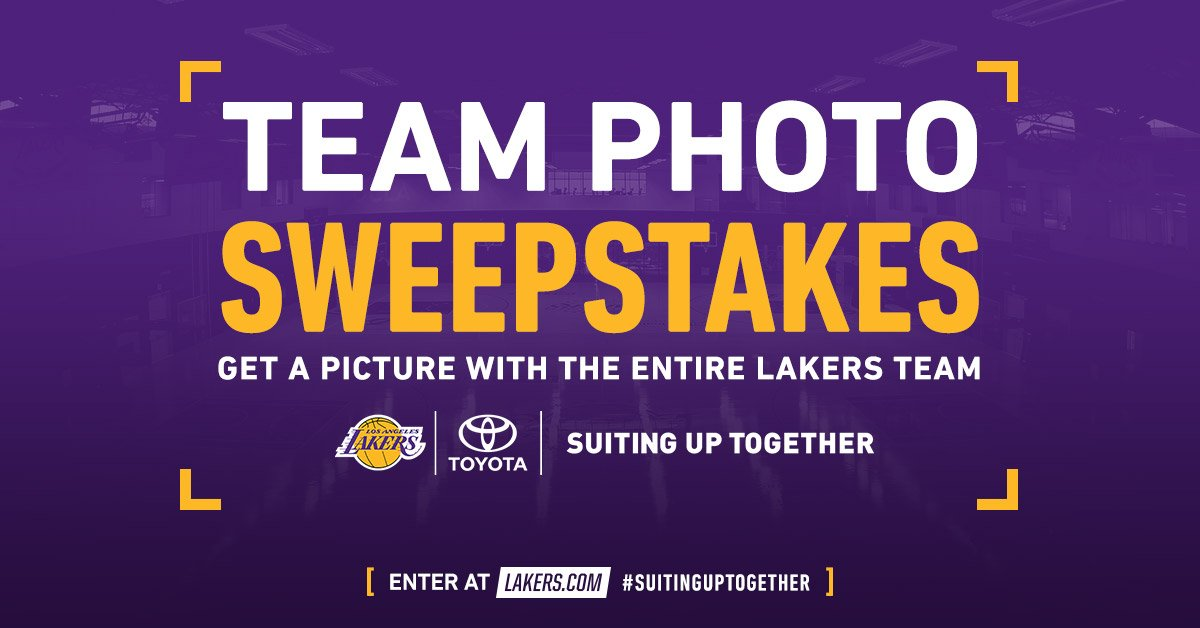This is your chance to take a photo with the entire Lakers team, thanks to @Toyota!!   Enter now: https://t.co/8iXZfcfOtu   #SuitingUpTogether