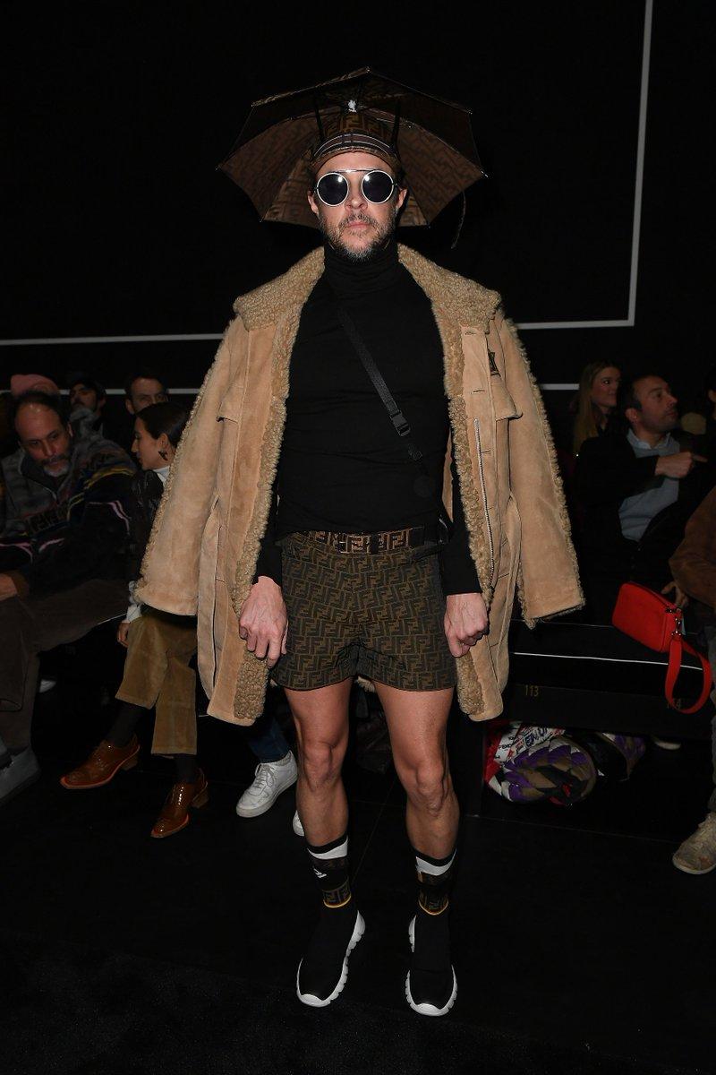 .@caseyspooner at the Fendi Men's Fall/Winter 2019-20 Fashion Show. #FendiFW19
