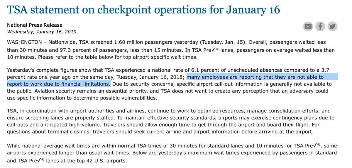 A TSA Press Release contradicts the Department of Homeland Security&#39;s strident denial of a CNN report.  https://www. tsa.gov/news/releases/ 2019/01/16/tsa-statement-checkpoint-operations-january-16 &nbsp; … <br>http://pic.twitter.com/WAKInEJrH4