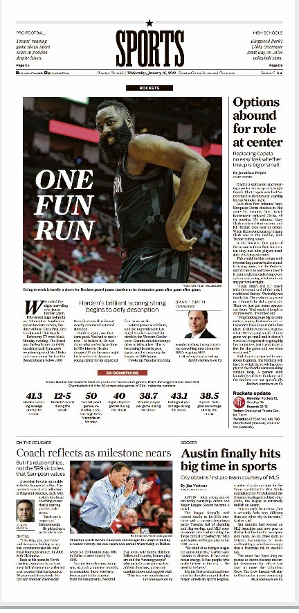 Today's @HoustonChron Sports cover featuring @HoustonRockets @ChronBrianSmith @UHCougarMBK and @JimVertuno on @mls2atx @MLS
