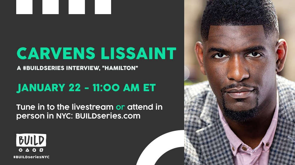 Great news, @HamiltonMusical fans: Broadway's George Washington, @carvenslissaint, joins us live Tuesday 1/22 at 11AM ET! 🎟️ In NYC? Get tix: https://t.co/Q4vCoWGsxD.