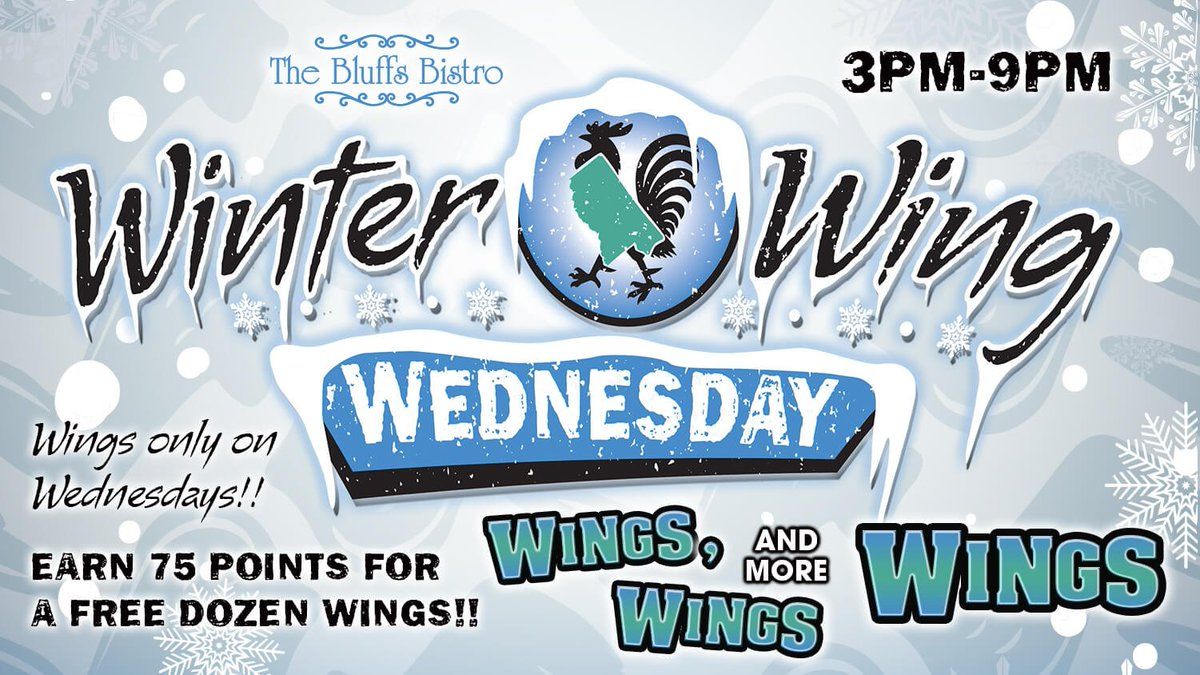 IT'S WINTER WING WEDNESDAY!! Enjoy our 5 Wonderful Wing flavors ALL  NIGHT from 3PM-9PM!! We're serving only Wings on Wednesday!! - Only at  Magnolia Bluffs Casino, The Bluffs Bistro #chickenwings #magnoliabluffscasino #thebluffsbistro #wingswingswings