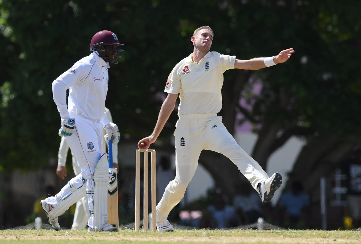 Hat-trick for Stuart Broad! The England seamer removes Bryan Charles - as opposed to Brian Charles Lara - and the CWI President's XI are 131-11!  England will continue bowling all day.  Scorecard 👉 https://t.co/pl2Zz8ubUo
