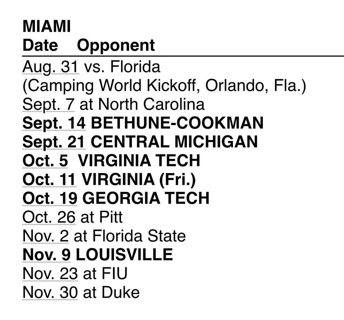 Miami 2019 Football Schedule Manny Navarro on Twitter: