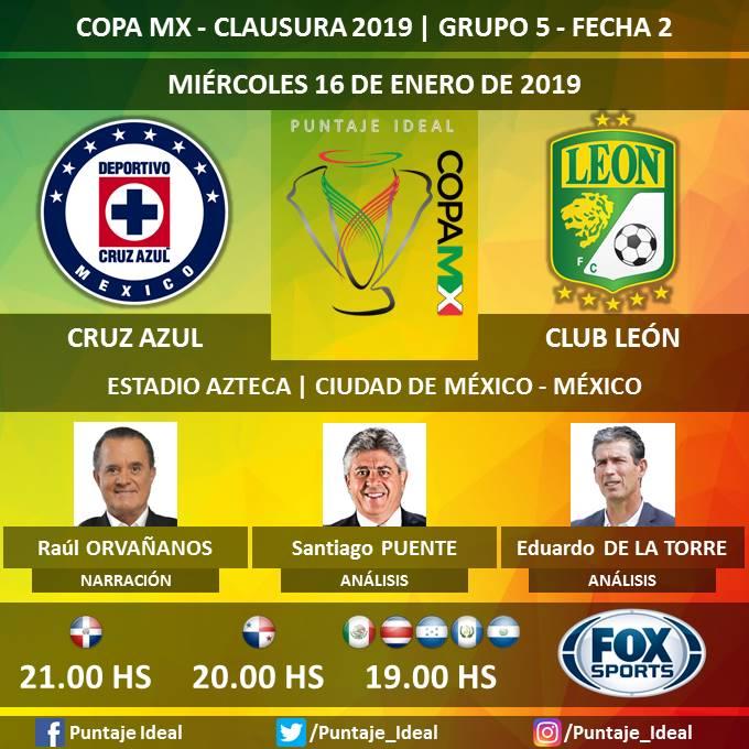 ⚽ #CopaMX 🇲🇽   #CruzAzul vs. #ClubLeón 🎙 Narración: @RaulOrvananos  🎙 Análisis: @santipuente y @YayoDelaTorreM  🤳 #LaFieraxFOX  📺 #FOXSports México, Centroamérica y Rep. Dominicana   Dale RT 🔃