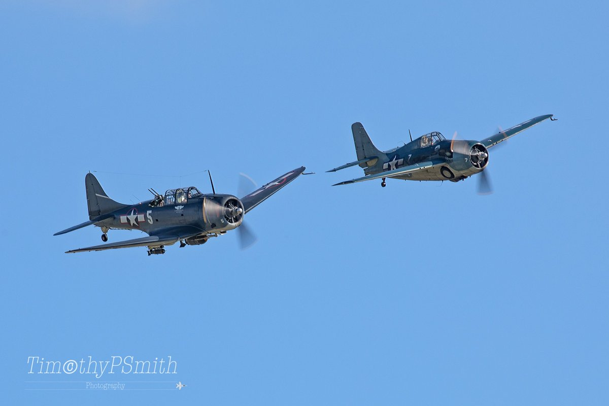 The CAF Dixie Wing's  Douglas SBD-5 #Dauntless &  Greg Shelton's FM-2 #Wildcat   Thrilled to see these two classic #WW2 Naval legends flying together, just amazing. #ThankAVet 🇺🇸 #Warbird #NewOrleans #WW2LandAirSeaFestival #FlyNavy.