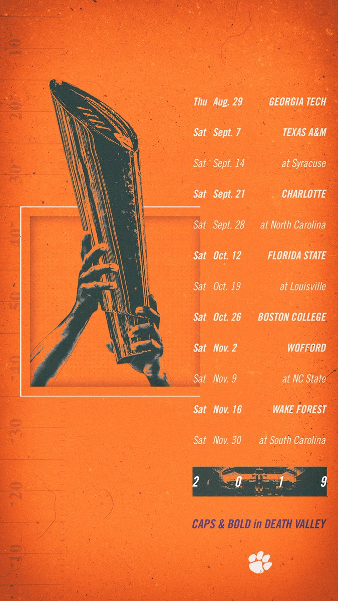Clemson Football On Twitter Here Are You 2019 Schedule Wallpapers