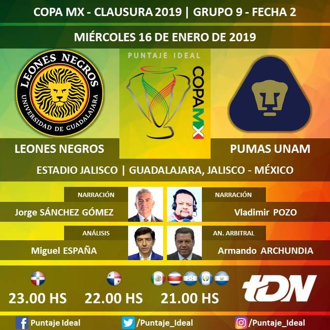⚽ #CopaMX 🇲🇽   #LeonesNegros vs. #PumasUNAM 🎙 Narración: @jsanchez_tdn y @VladimirPozoC80  🎙 Análisis: @mespana_tdn  🎙 Análisis arbitral: @aarchundia896  🤳 #FutEnTDN  📺 @tdn_twit   Dale RT 🔃