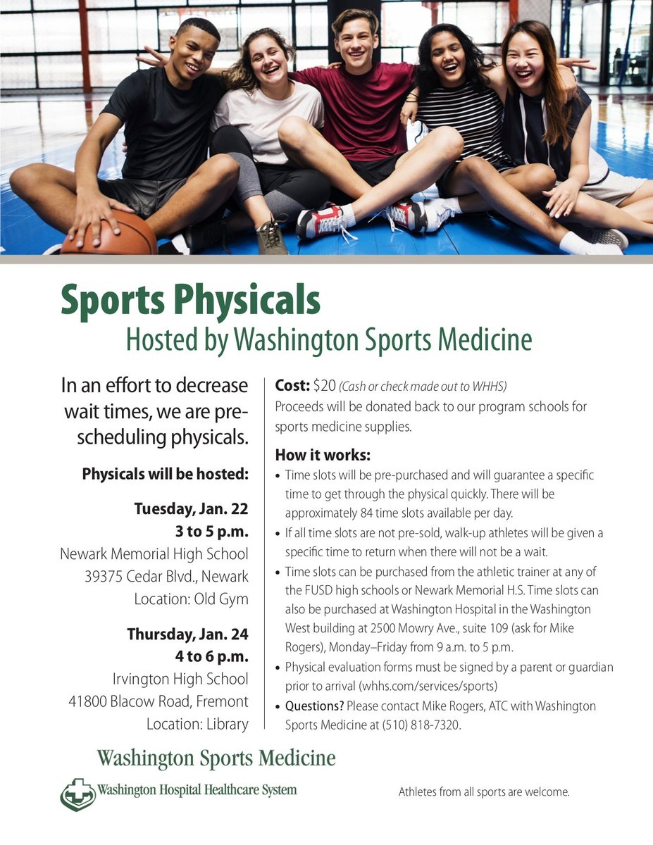 "sports physical form washington  Washington Hospital Healthcare System on Twitter: ""Tues, Jan ..."
