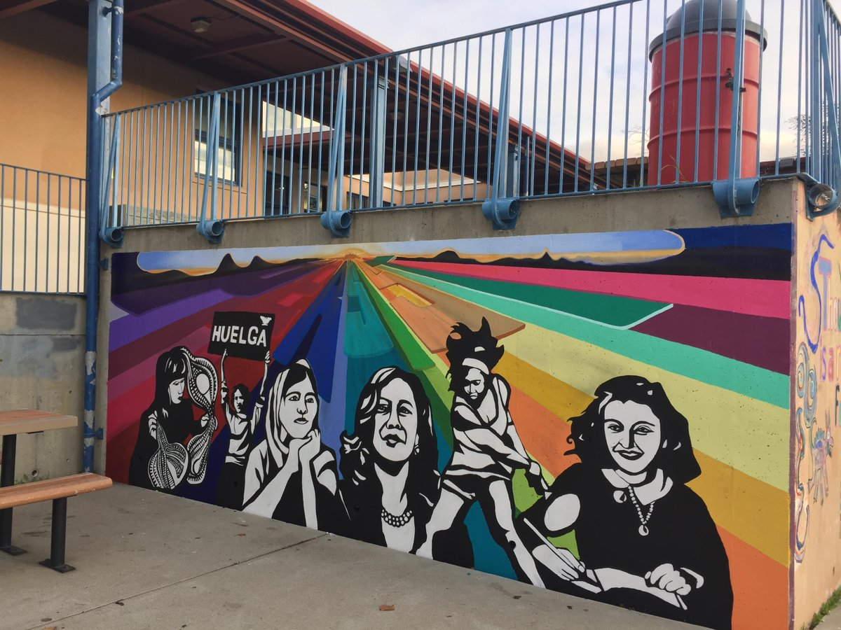 Honored to be included among so many extraordinary women — @Malala Yousafazai, @DoloresHuerta, Ruth Asawa, @serenawilliams, and Anne Frank — in a mural at my alma mater Thousand Oaks Elementary School.