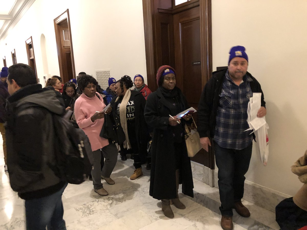 Security guards and janitors at federal facilities lined up outside Sen Majority Leader Mitch McConnell's with they're unpaid bills in their hands today calling on him to help reopen the government . The story on abc7 news at 5.