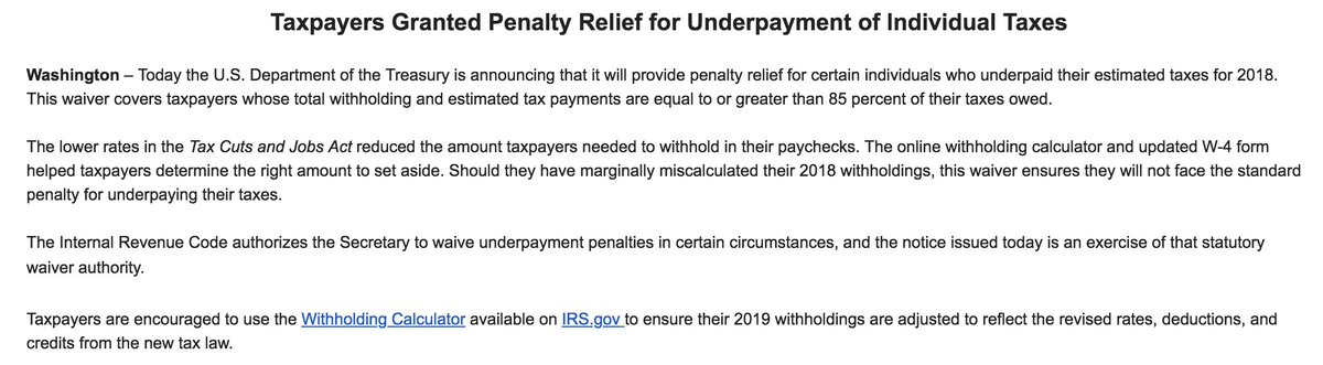If you underpaid your taxes last year, but not by *that* much, Treasury says it has you covered.