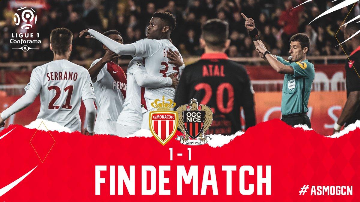 Match nul entre l'AS Monaco et l'OGC Nice - B. Badiashile est le buteur 🔴⚪️   1⃣-1⃣ #ASMOGCN