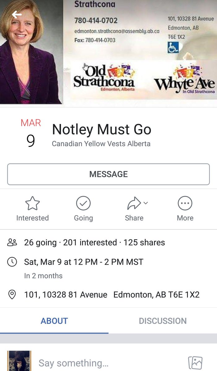 The Yellow Vests are targeting Notley&#39;s &quot;ridding&quot; so that they can educate Albertans and I am laughing so hard because isn&#39;t March 9th the anniversary of the #Kudatah and - oh, my ribs! - HAHAHA! #ableg<br>http://pic.twitter.com/tolKxIkZc0