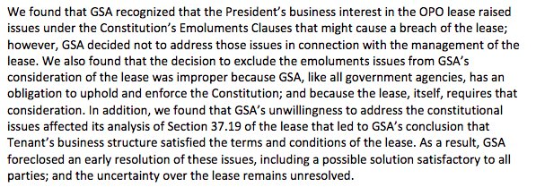 some news - the GSA's inspector general says the agency ignored the constitution by letting trump lease the US post office for his hotel https://www.gsaig.gov/sites/default/files/ipa-reports/JE19-002%20OIG%20EVALUATION%20REPORT-GSA%27s%20Management%20%26%20Administration%20of%20OPO%20Building%20Lease_January%2016%202019_Redacted.pdf…