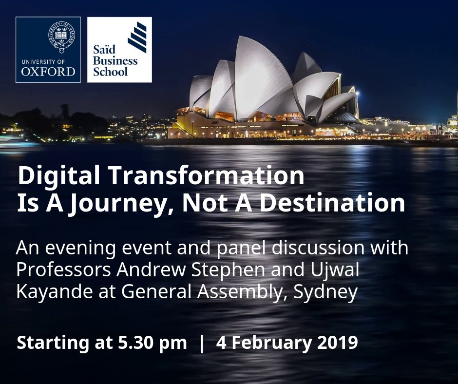 Join us in Sydney for a discussion and debate with @AndrewTStephen and @UjwalKayande on leading successful and effective #digitaltransformation in organisations. Register for this free event at: https://t.co/oYiFL4G2ym    #marketing #GA #Sydney #businessschools #CEO #business
