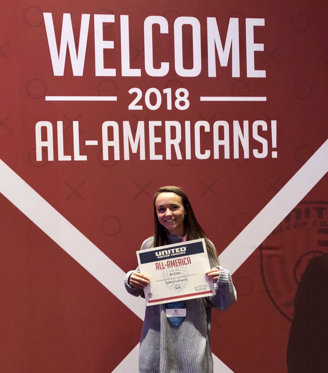 Congrats to @brifolds4, who was honored as a 2018 United Soccer Coaches All-American at the awards banquet in Chicago last weekend!    #WarEagle<br>http://pic.twitter.com/oHtQydhS4n