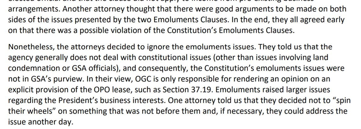 """IG: Lawyers for GSA, the agency that's also the landlord for Trump's DC hotel, were aware that it might be unconstitutional for Trump to continue operating it. """"Nonetheless, the attorneys decided to ignore the emoluments issue."""""""