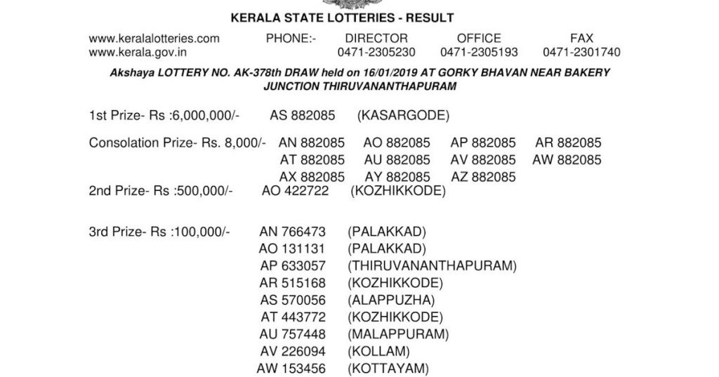 AKSHAYA AK-378 | 16.01.2019 | Kerala Lottery Result Today Live andOfficial  https:// gettodaylotteryresult.com/akshaya-ak-378 -16-01-2019-kerala-lottery-result-today-live-and-official/ &nbsp; … <br>http://pic.twitter.com/ichifzmNqt