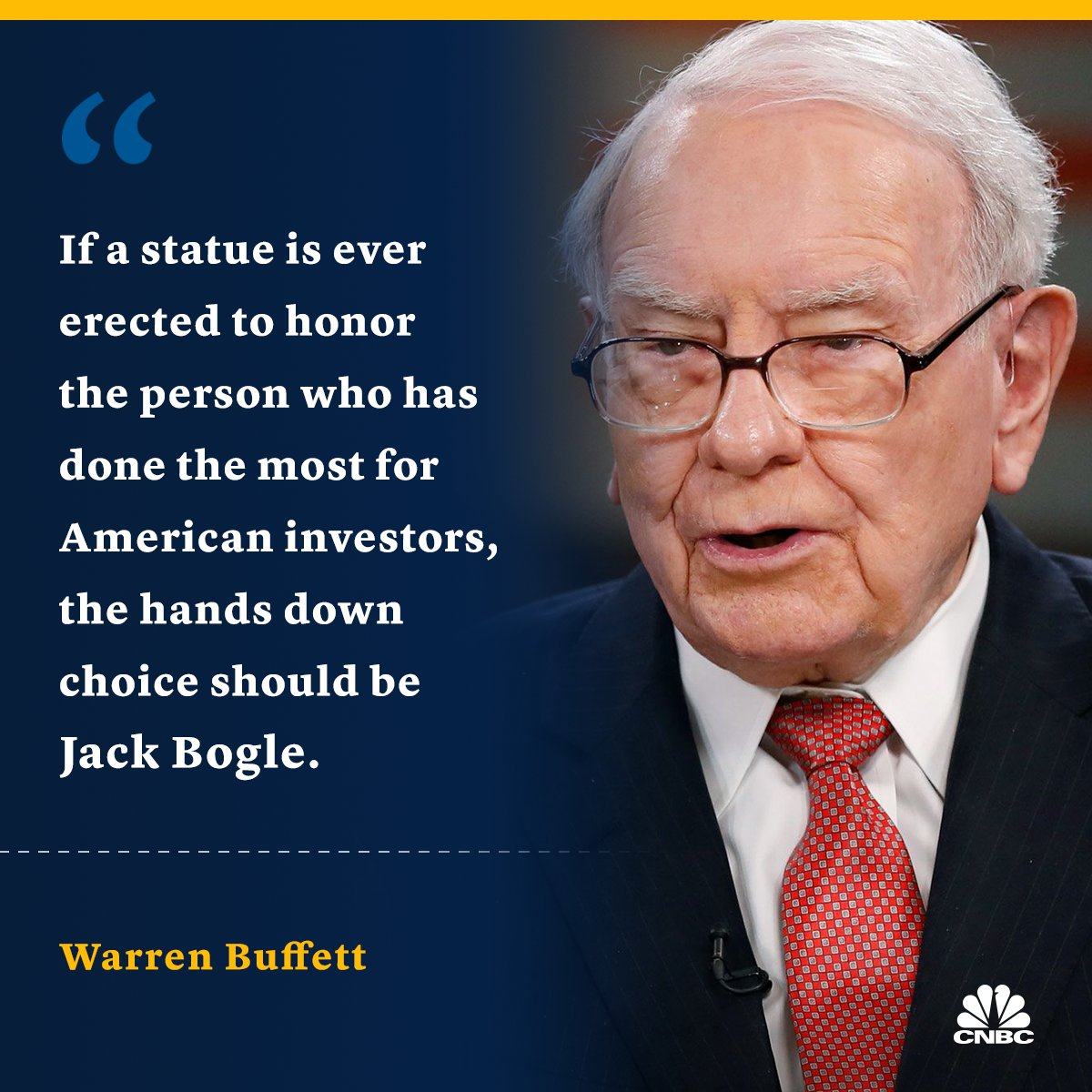 "CNBC on Twitter: ""Warren Buffett says Jack Bogle did more for the  individual investor than anyone he's ever known. https://t.co/IY1OYsZOoj…  https://t.co/NmZtylkuwz"""