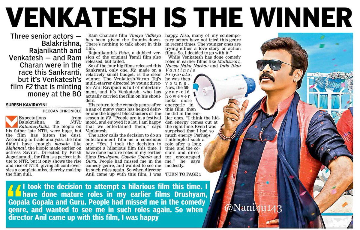 Today Deccan Chronicle paper article  #F2 Venky is the winner <br>http://pic.twitter.com/iBxV6Yv7DM