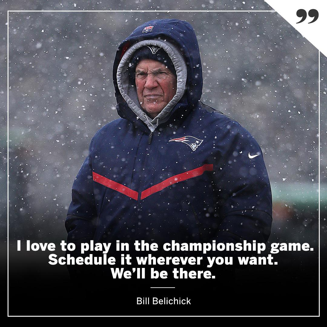Whatever weather Kansas City brings, Belichick is ready. (via @MikeReiss)