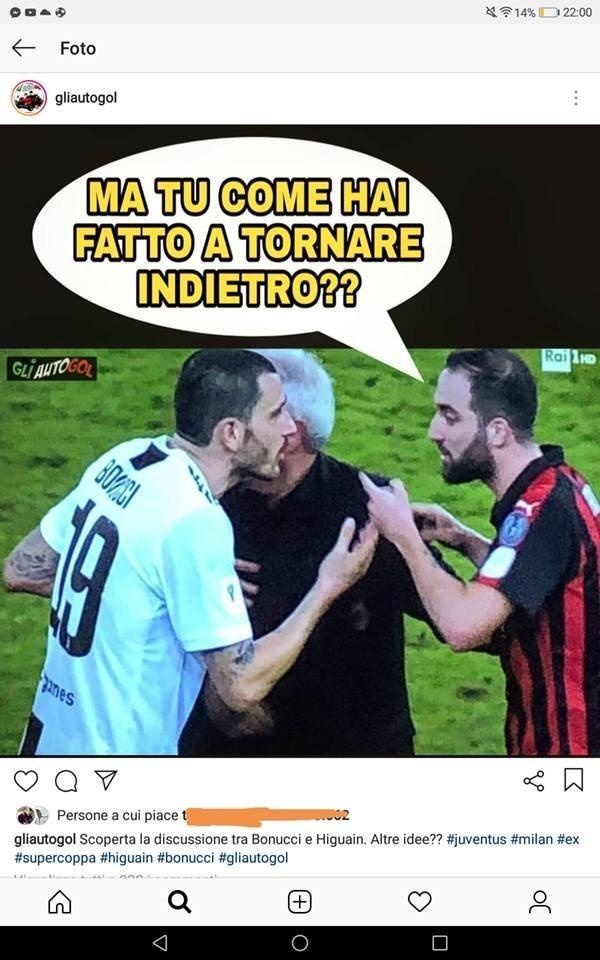 Scenata di #Higuain a fine partita .... Ecco cosa ha detto il #Pipita a #Bonucci. 😏🦓🇮🇹➡️ https://bit.ly/2T5Uo7y  #JuveMilan #SupercoppaItaliana #Jeddah #JuveSupercampioneDItalia #Juventus #Milan