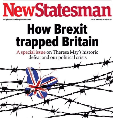 Assume the New Statesman's latest cover is a cheeky nod to its rival's original Brexit one... Via @hendopolis #tomorrowspaperstoday