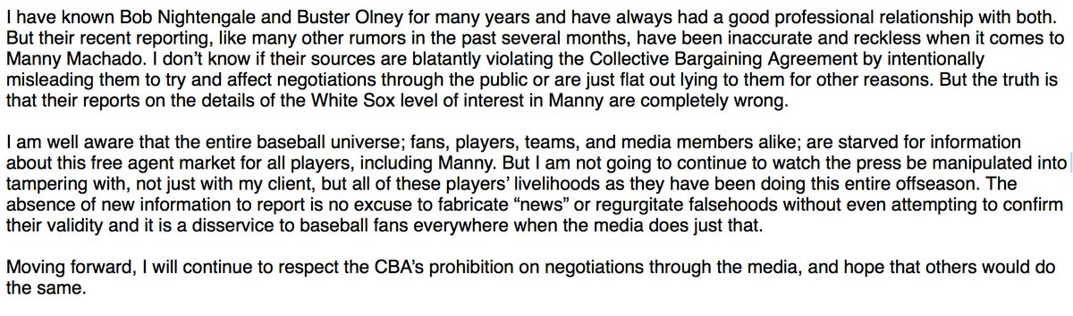 Dan Lozano of MVP Sports Group, the agent for Manny Machado, released the following statement regarding recent reports: