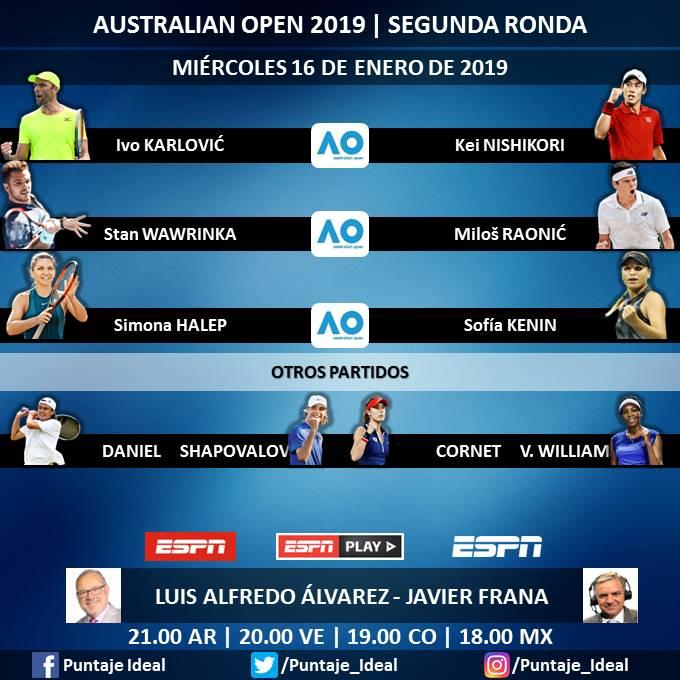 🎾 #AUSTRALIAxESPN  ▶ Día 4 - Segunda Ronda (1er Turno)   🎙 @LuisAlvarez_1  🎙 @javifranatenis  🎙 @nicolaspereira   📺 #ESPN Latinoamérica  🖥 @ESPNPLAY   Dale RT 🔃