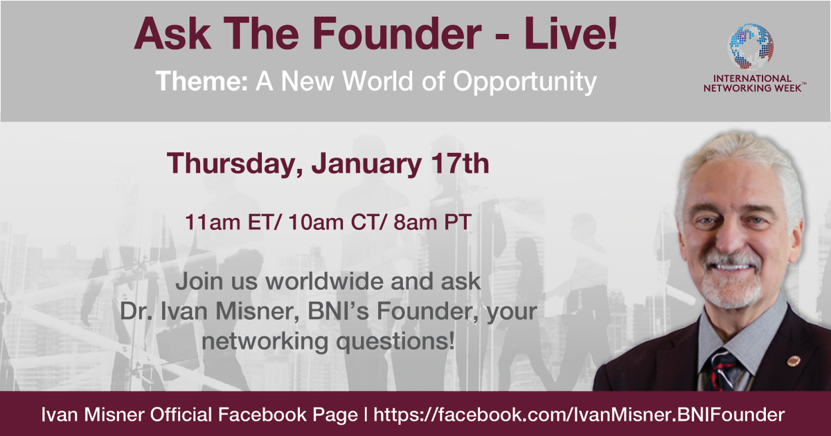 """I will be hosting another Facebook Live """"Ask Ivan®"""" one-hour event. Join me tomorrow on Thursday, January 17th at 10 am (CDT) about """"A New World of Opportunity"""". I would love to see what questions you have for me. #FBF #AskIvan  https://www.facebook.com/events/363523364406339/…"""