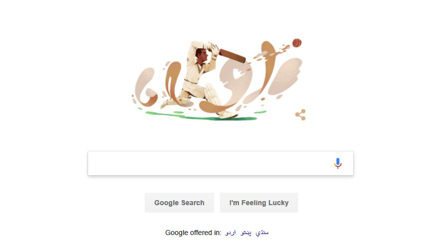 Doodle on google in Pakistan to mark the day Pakistan&#39;s first Test captain Abdul Hafeez Kardar was born.   Kardar was born 17th January 1925 and captained Pakistan in its first 23 Test matches and also led Pakistan to a famous victory at The Oval in 1954 #Cricket<br>http://pic.twitter.com/o62X1mdM13