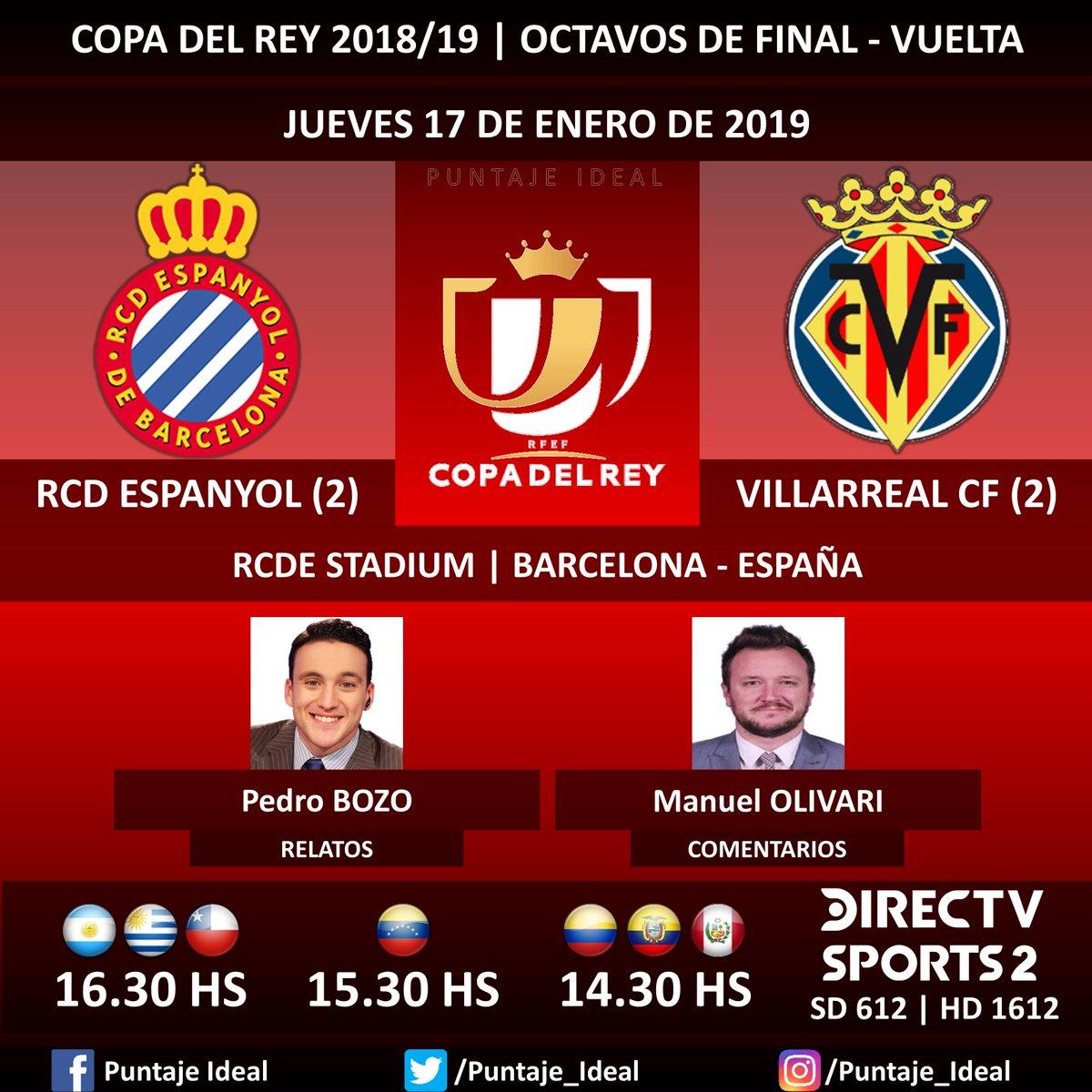 ⚽ #FútbolEnDIRECTV   #RCDEspanyol vs. #VillarrealCF 🎙 Relatos: @pedrobozoa  🎙 Comentarios: @ManuOlivari  📺 TV: @DIRECTVSports 2 Sudamérica (612 - 1612 HD) - #Torneos 🤳 #SoySportista - #CopaDelRey 🇪🇸 - #EspanyolVillarreal  Dale RT 🔃