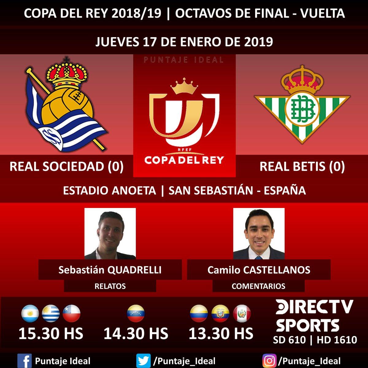⚽ #FútbolEnDIRECTV   #RealSociedad vs. #RealBetis 🎙 Relatos: @haasenico  🎙 Comentarios: @SebasDecker  📺 TV: @DIRECTVSports Sudamérica (610 - 1610 HD) - #Torneos 🤳 #SoySportista - #CopaDelRey 🇪🇸 - #RealSociedadRealBetis Dale RT 🔃