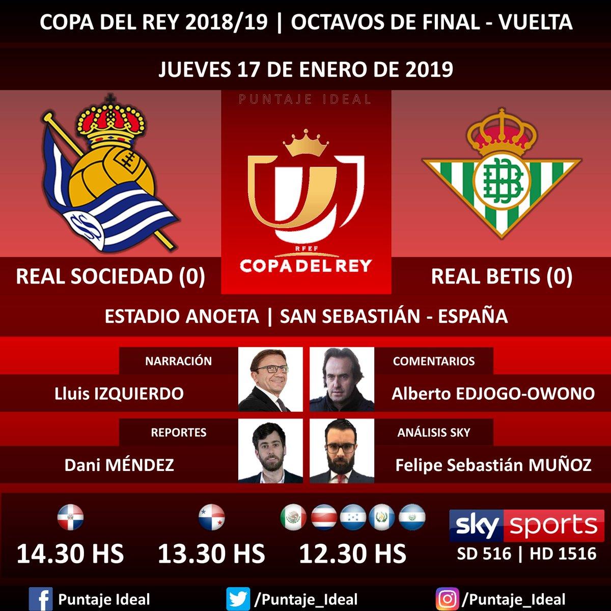 ⚽ #FútbolPorSKY   #RealSociedad vs. #RealBetis 🎙 Narración: @lluisizquierdo  🎙 Comentarios: Miquel Soler 🎙 Reportes: @Danimendez7  🎙 Análisis SKY Sports: @fpesebastian  📺 TV: #SKYSports (516 - 1516 HD) 🤳 @futbolporsky - #CopaDelRey 🇪🇸 - #RealSociedadRealBetis Dale RT 🔃