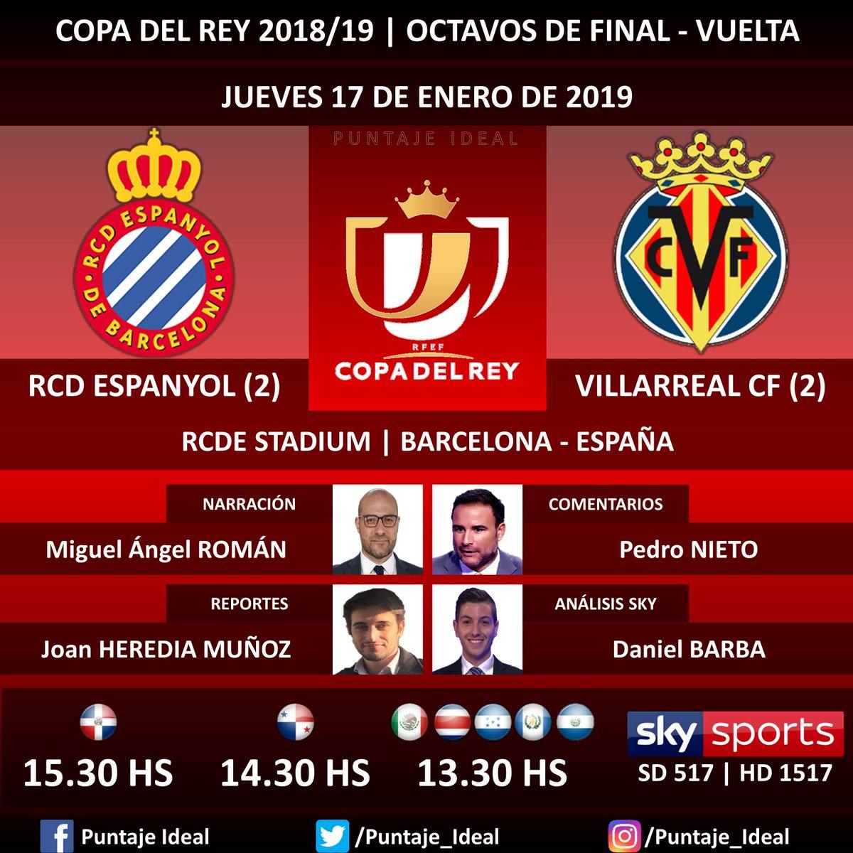 ⚽ #FútbolPorSKY   #RCDEspanyol vs. #VillarrealCF 🎙 Narración: @Miguel_An_Roman  🎙 Comentarios: @Pedronieto23  🎙 Reportes: @JoanHerediaM 🎙 Análisis SKY Sports: @DanielBarba_  📺 TV: #SKYSports (517 - 1517 HD) 🤳 @futbolporsky - #CopaDelRey 🇪🇸 - #EspanyolVillarreal Dale RT 🔃