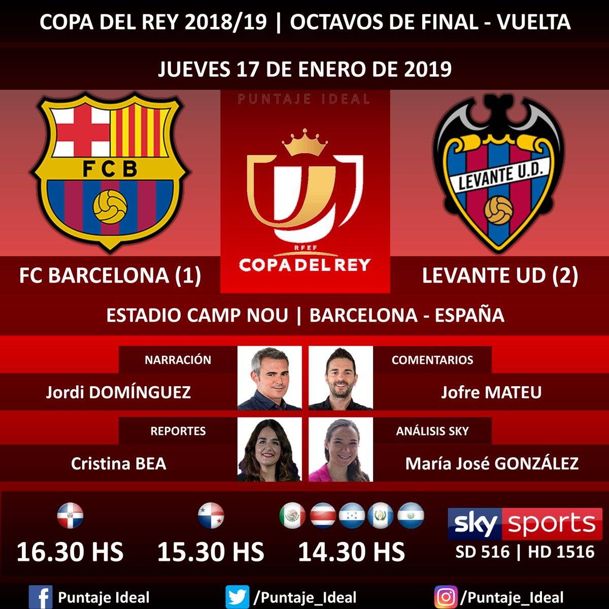 ⚽ #FútbolPorSKY   #FCBarcelona vs. #LevanteUD 🎙 Narración: @jdominguezfd  🎙 Comentarios: @JofreM11  🎙 Reportes: @_cristinabea  🎙 Análisis SKY Sports: @MajolaB  📺 TV: #SKYSports (516 - 1516 HD) 🤳 @futbolporsky - #CopaDelRey 🇪🇸 - #BarçaLevante  Dale RT 🔃