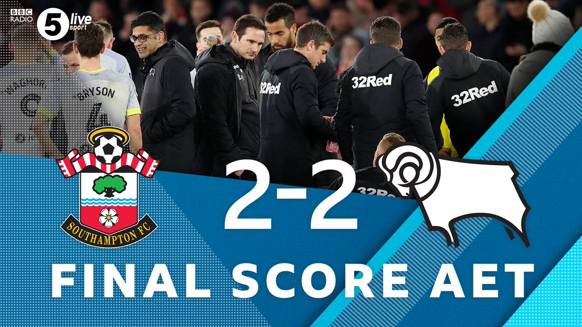 FT:  We're going to penalties! Join us 👇  📻⚽https://t.co/SjuOxpVTV7 #FACup #SOUDER